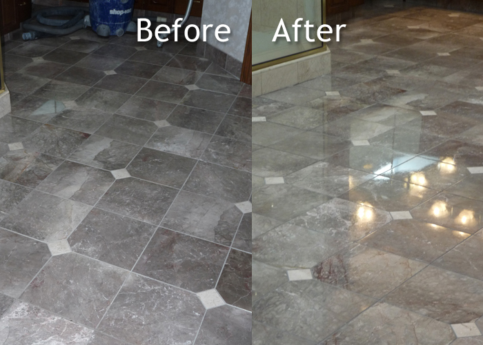 Dark Marble Bath Floor Cleaning