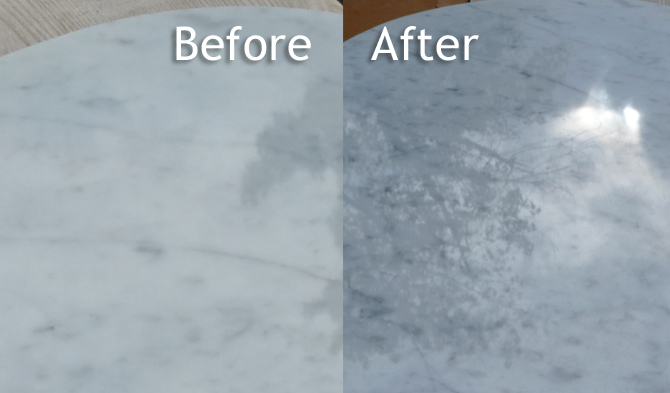 Countertop Cleaning Before and After polishing