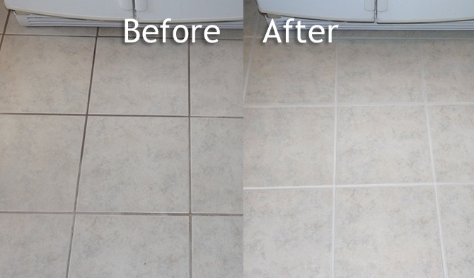 ColorSeal: Cleaning Grout, Coloring Grout and Sealing Grout: before and after photo