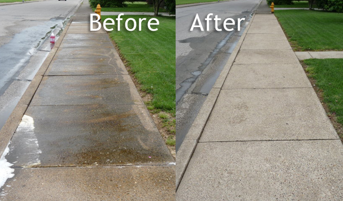 Concrete before and after photo